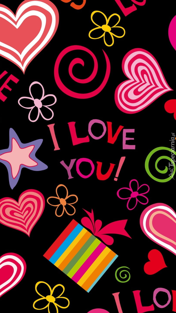 Kolorowe serca i napisy love