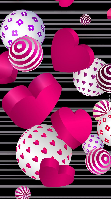 Kolorowe serca i piłki