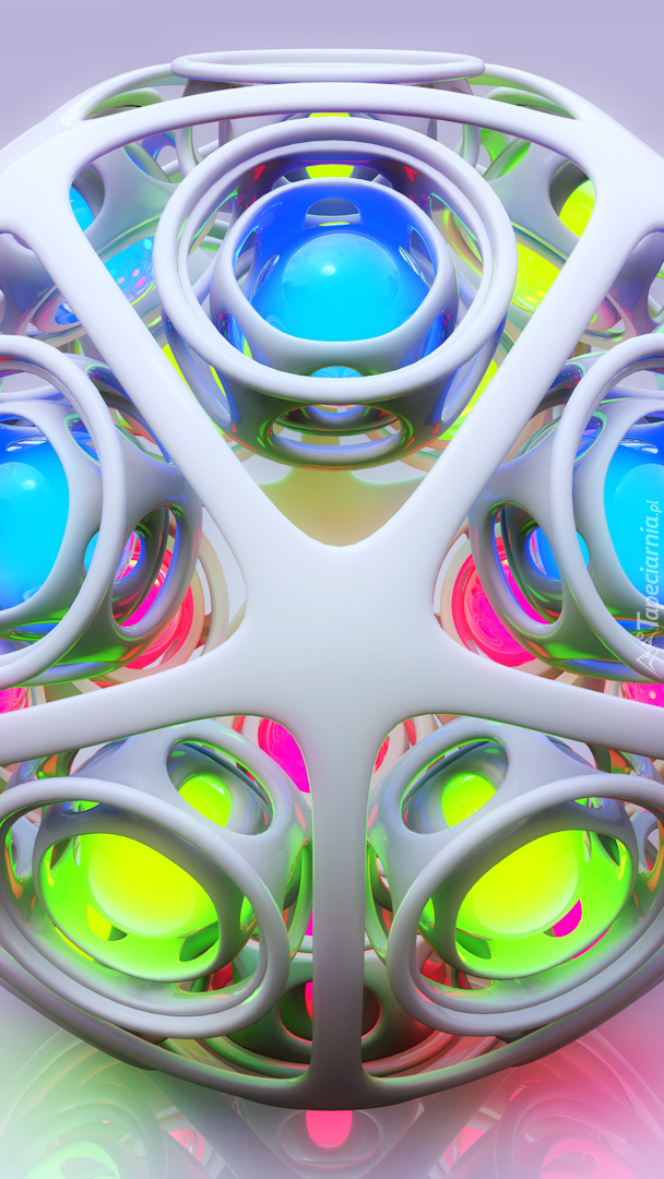 Kolorowy kulisty obiekt w 3D
