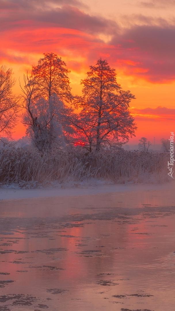 Kolorowy wschód słońca nad rzeką Gwda