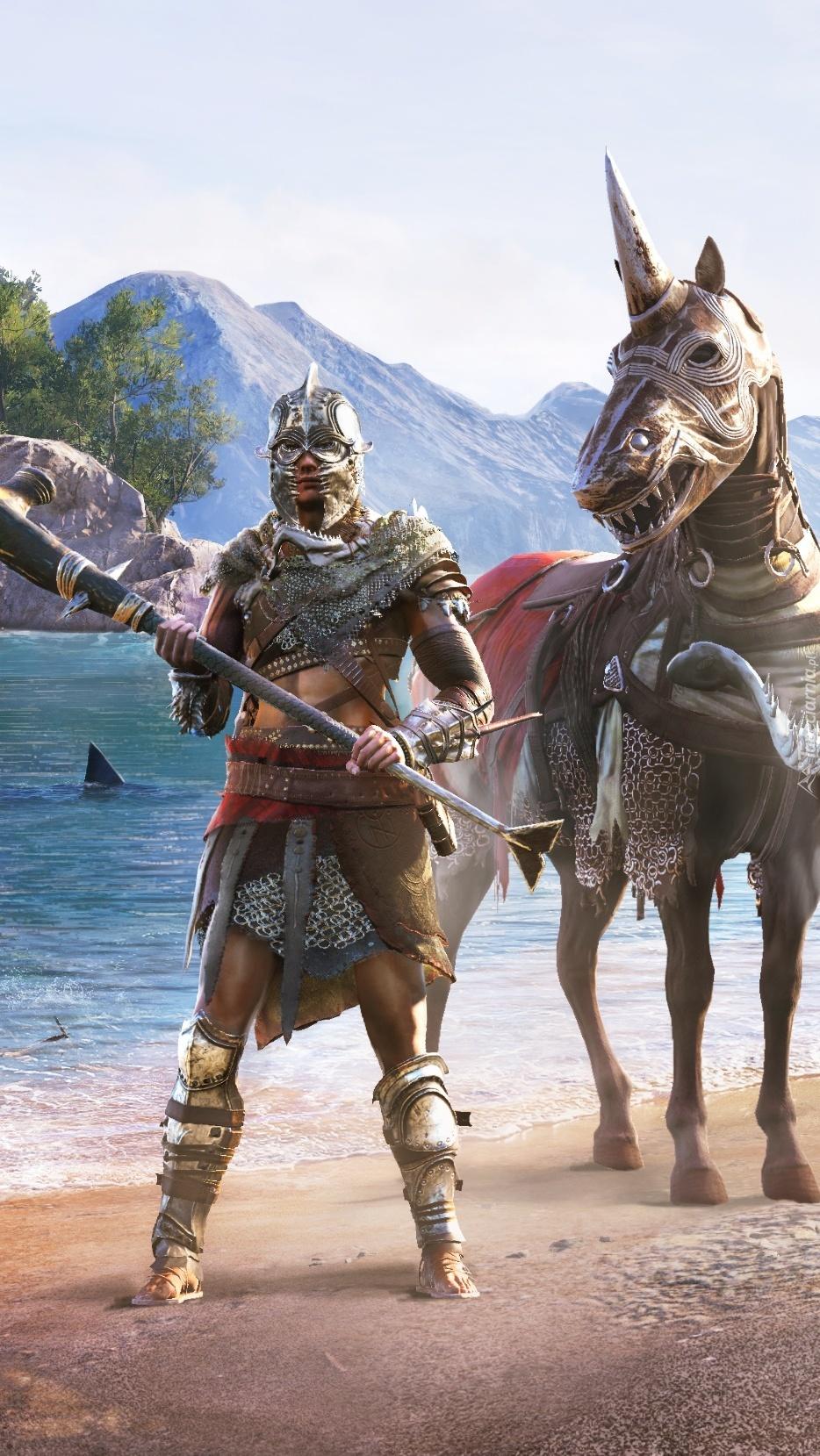 Koń i postać w zbroi z gry Assassins Creed Odyssey