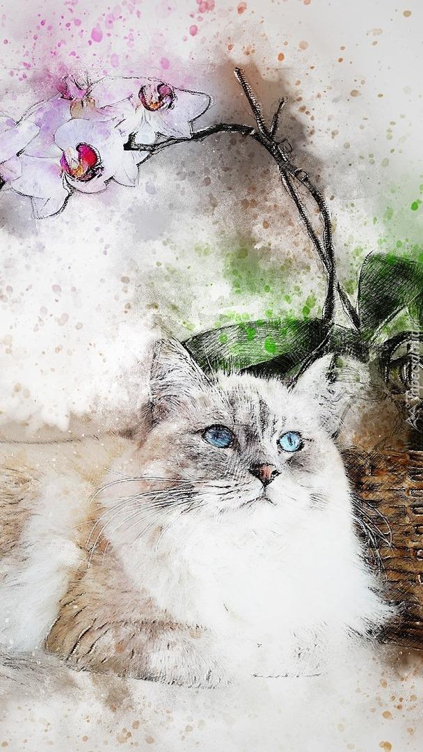 Kot obok storczyka w grafice