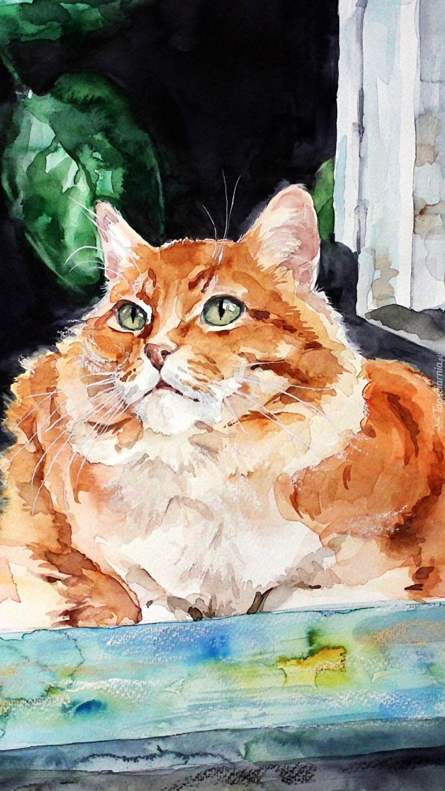 Kot w oknie na obrazie Natalii Chizhovej