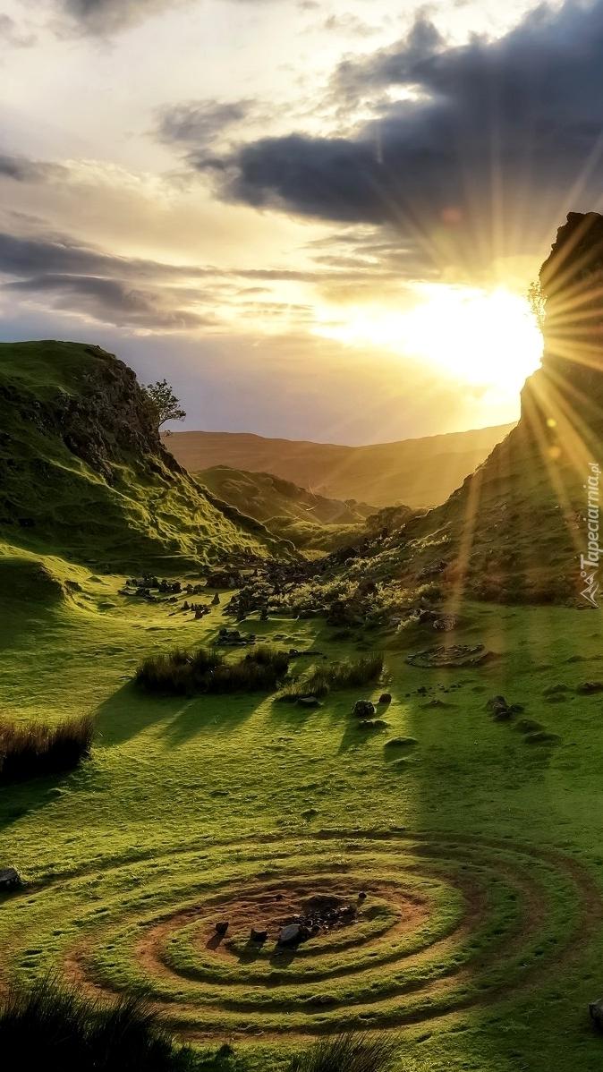 Kręgi na łące w promieniach słońca