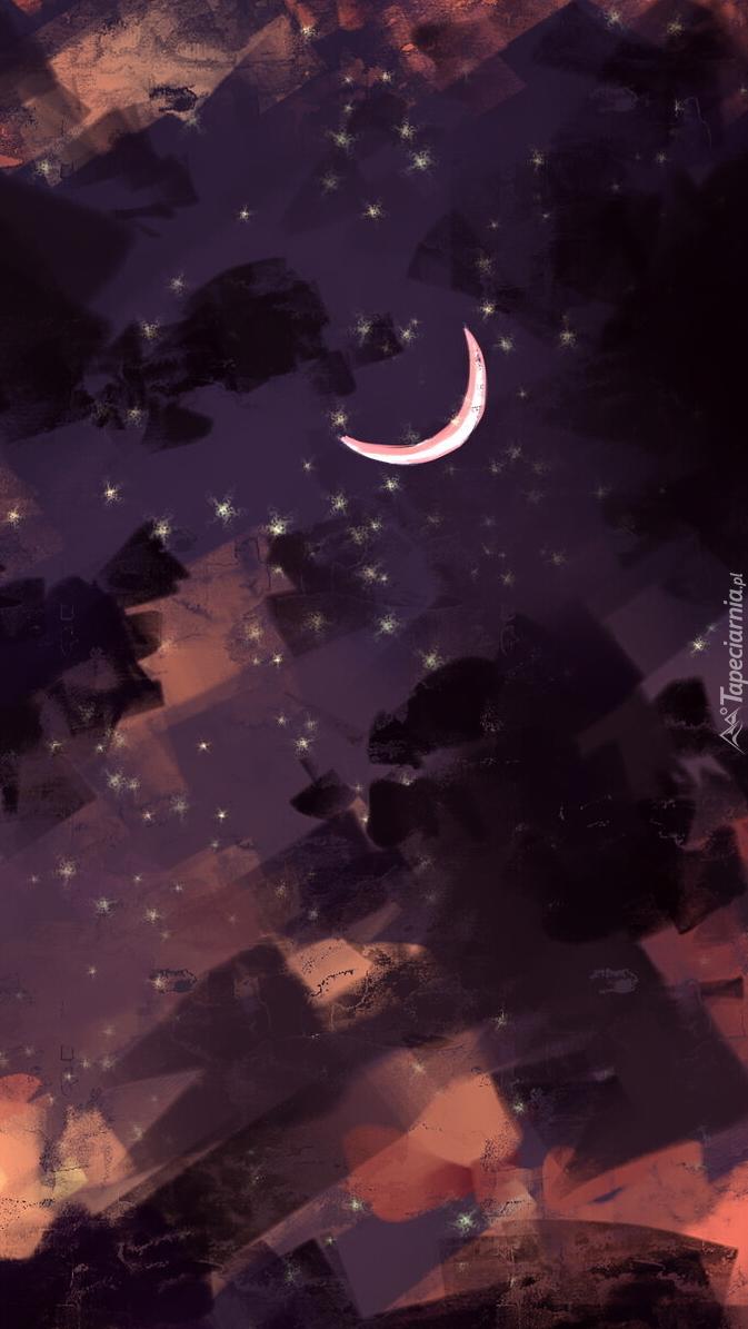 Księżyc i chmury w grafice