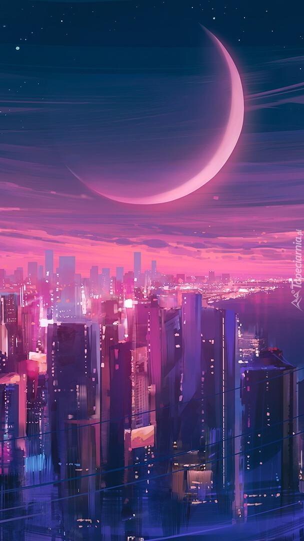 Księżyc nad wieżowcami w grafice