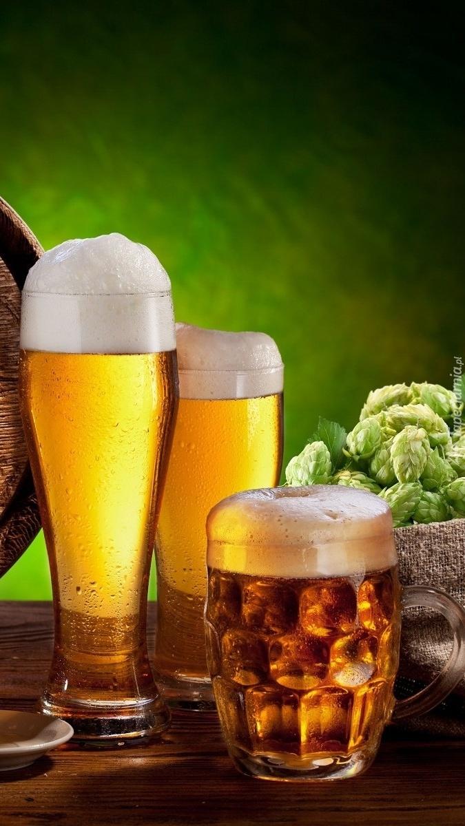 Kufle piwa i koszyk z chmielem