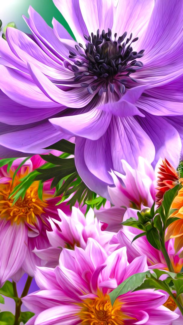 Kwiaty dalii i zawilca w grafice