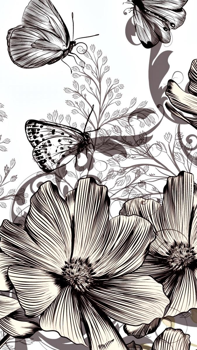 Kwiaty i motyle w grafice