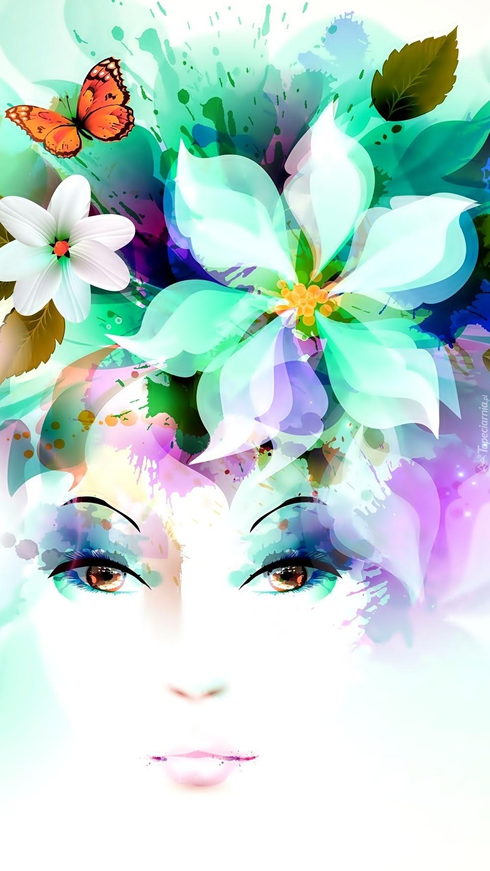 Kwiaty i twarz kobiety w grafice