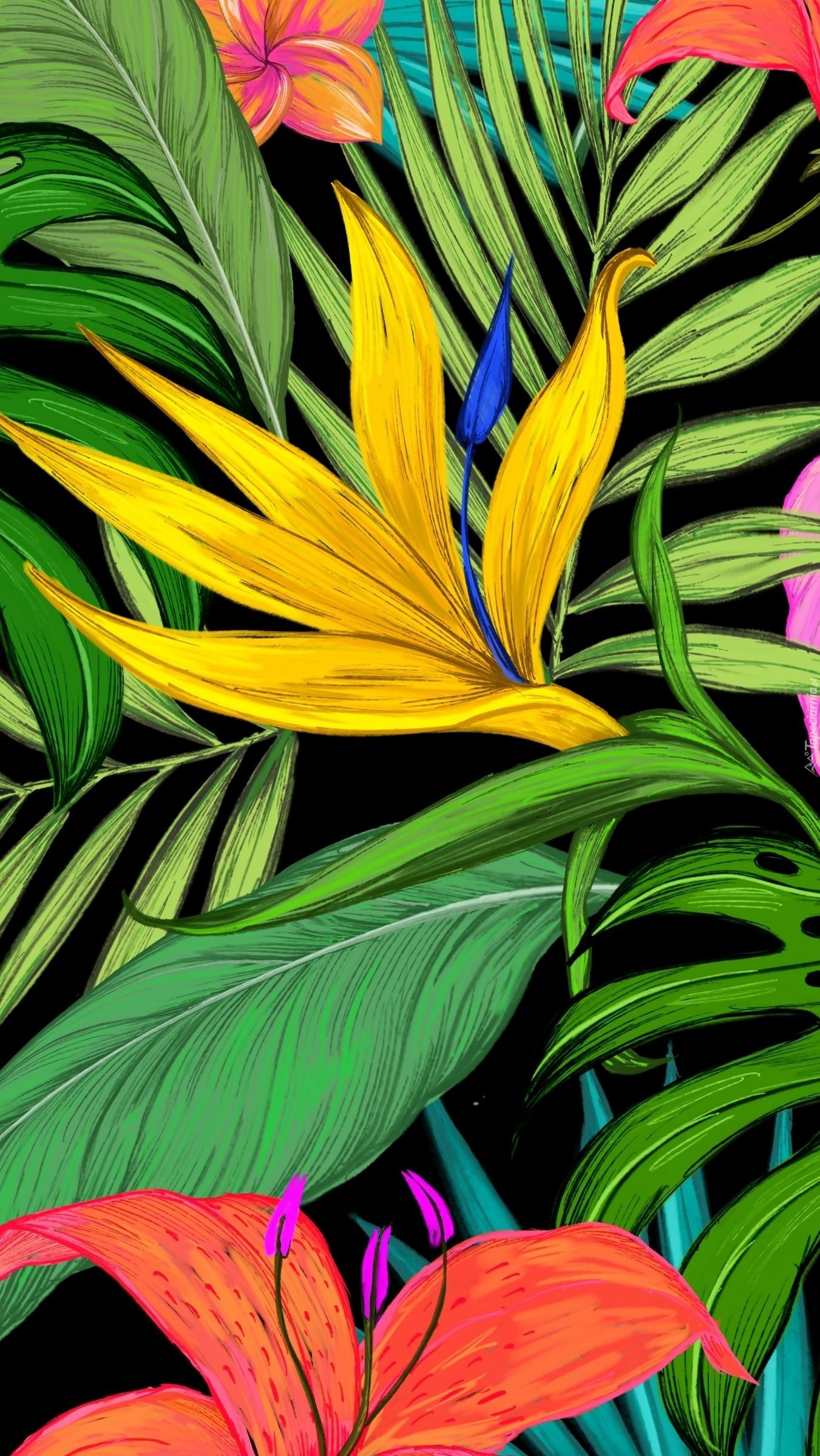 Kwiaty na liściach w grafice