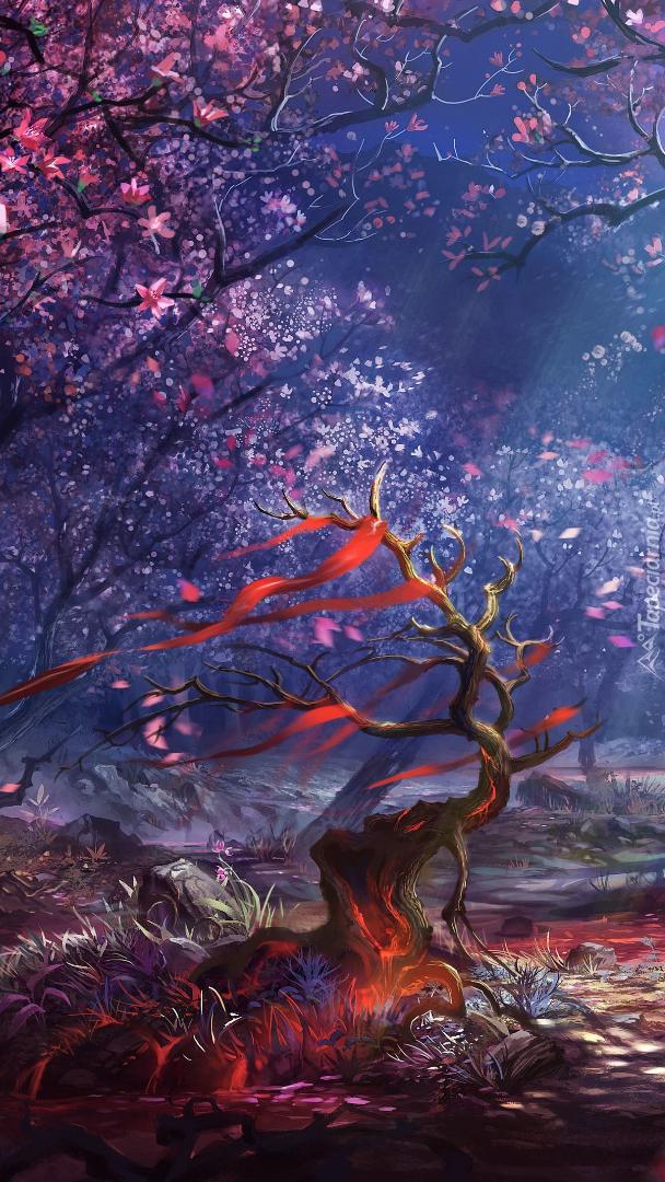 Las z kolorowymi drzewami w grafice