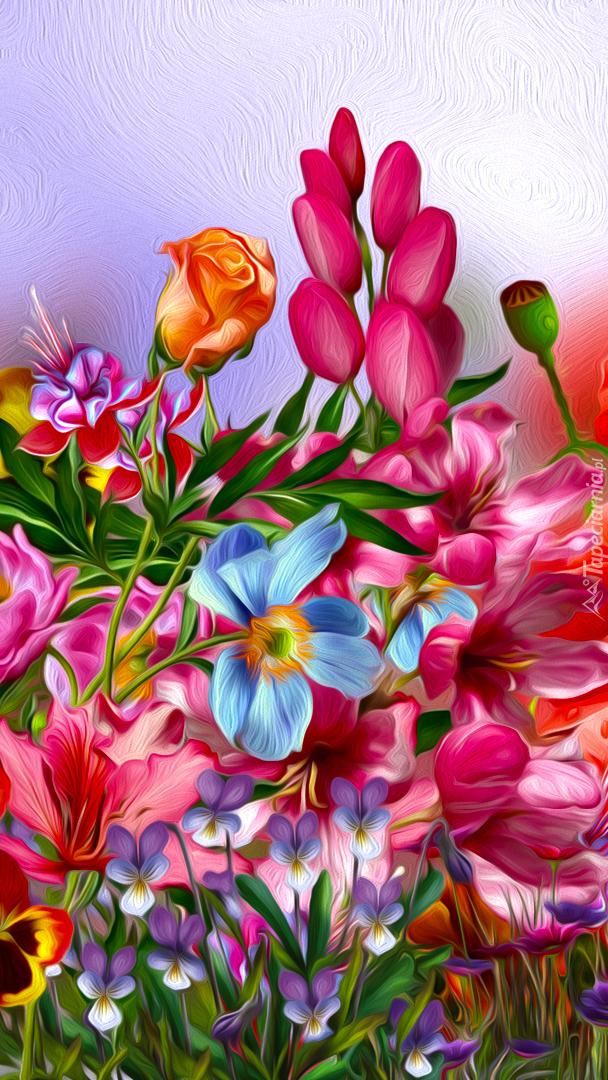 Letnie kwiaty w grafice