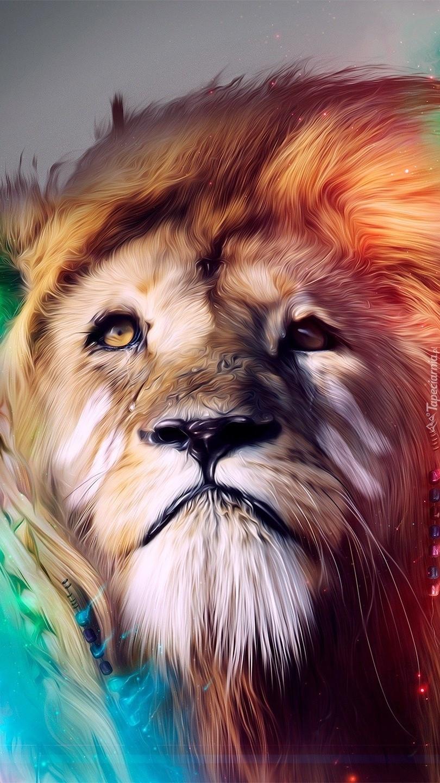 Lew z rozwianą grzywą