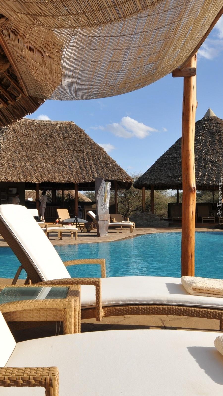 Leżaki nad basenem