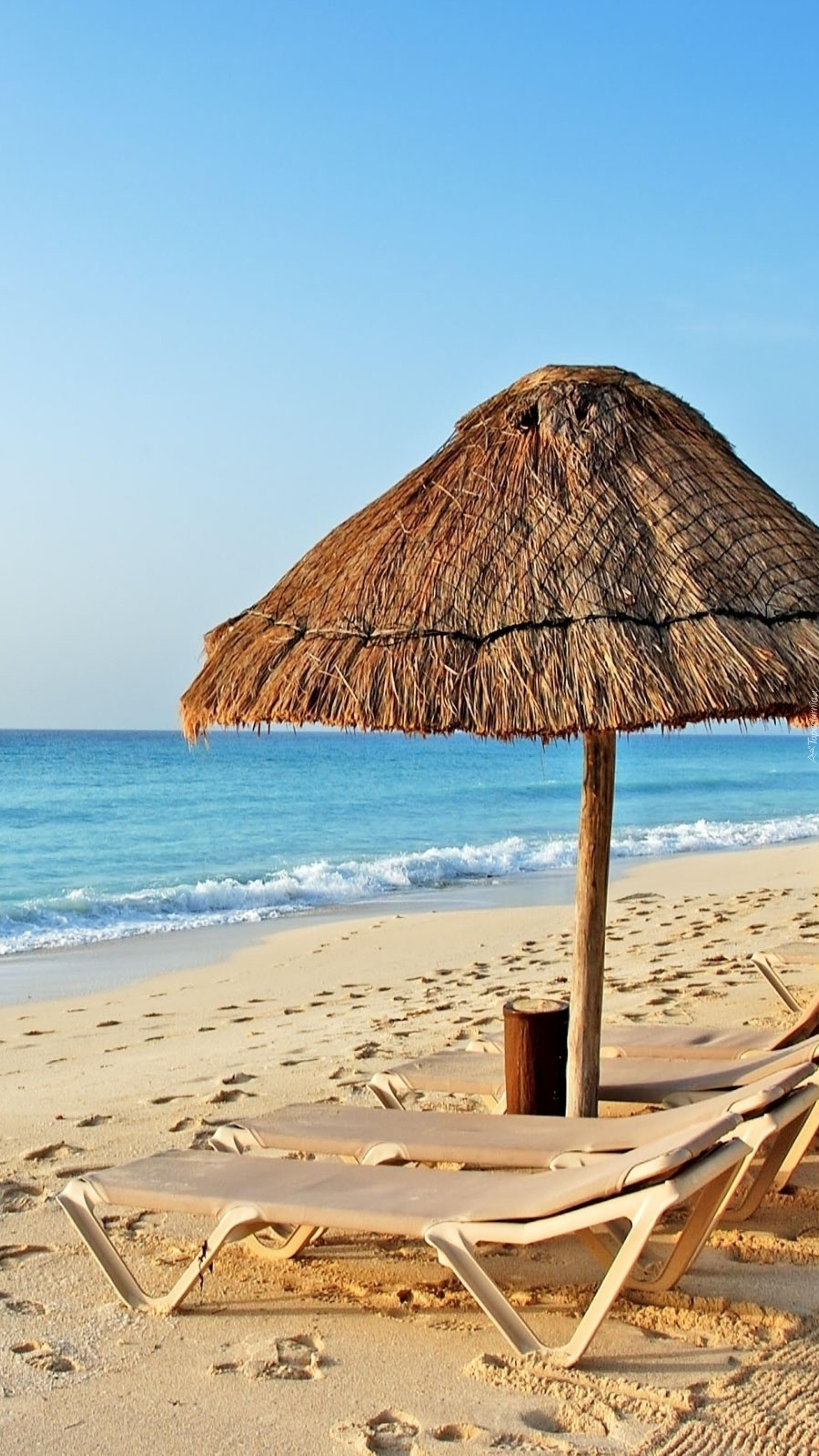Leżaki pod parasolem nad morzem