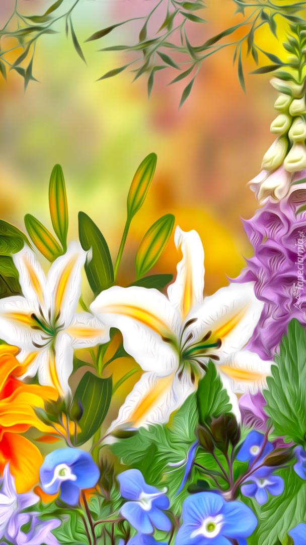 Lilie na kolorowym tle