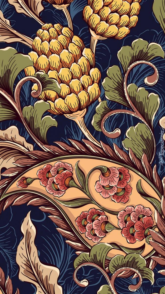 Liście i kwiaty na tle