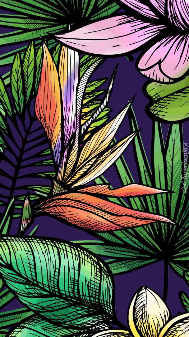 Liście i kwiaty w 2D