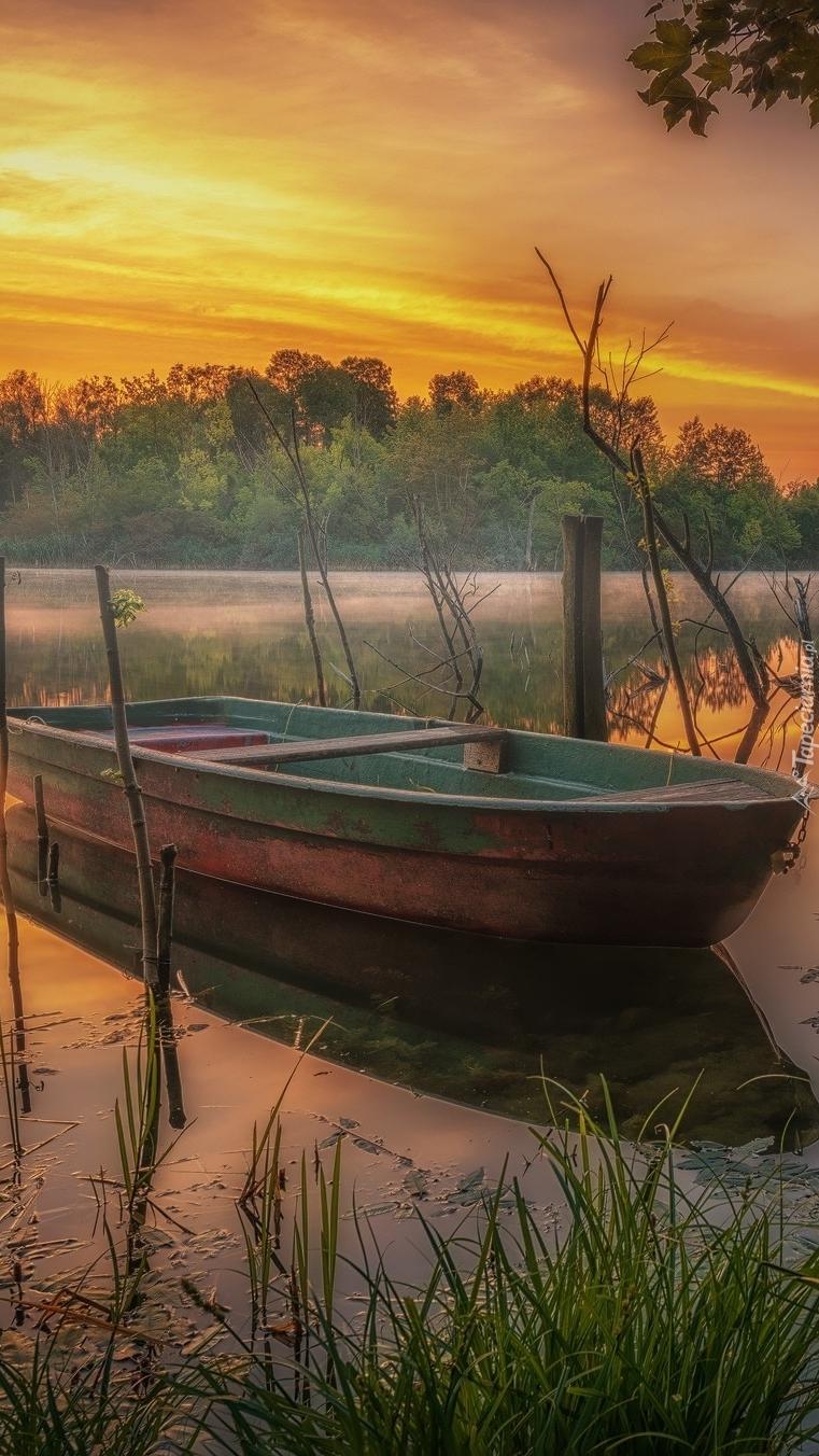 Łódka na jeziorze o wschodzie słońca