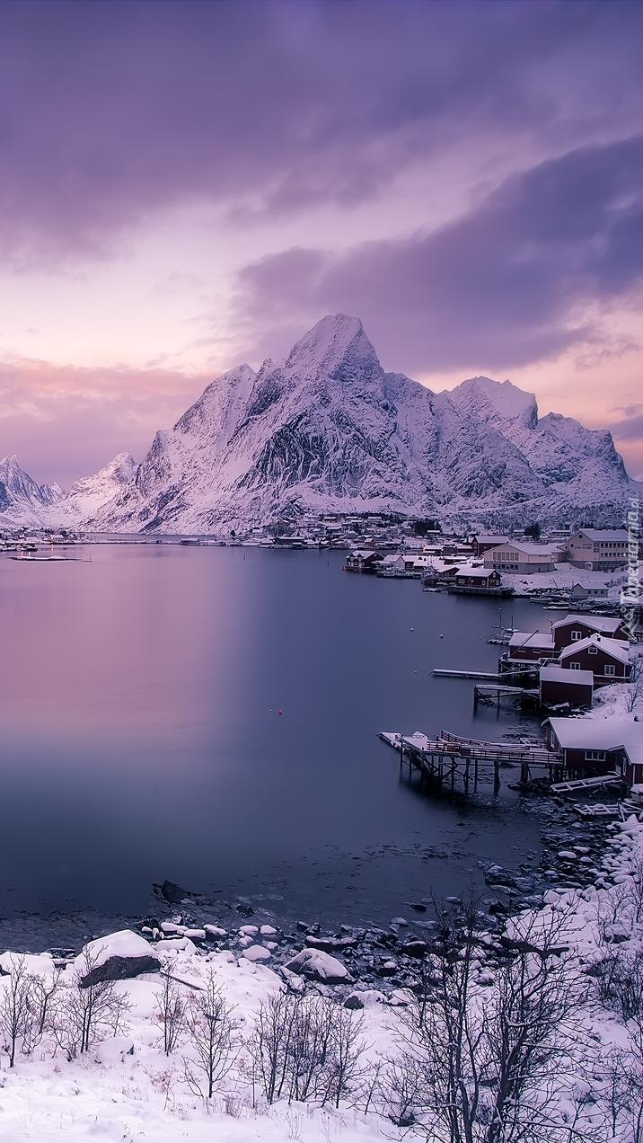 Lofoty w Norwegii zimą