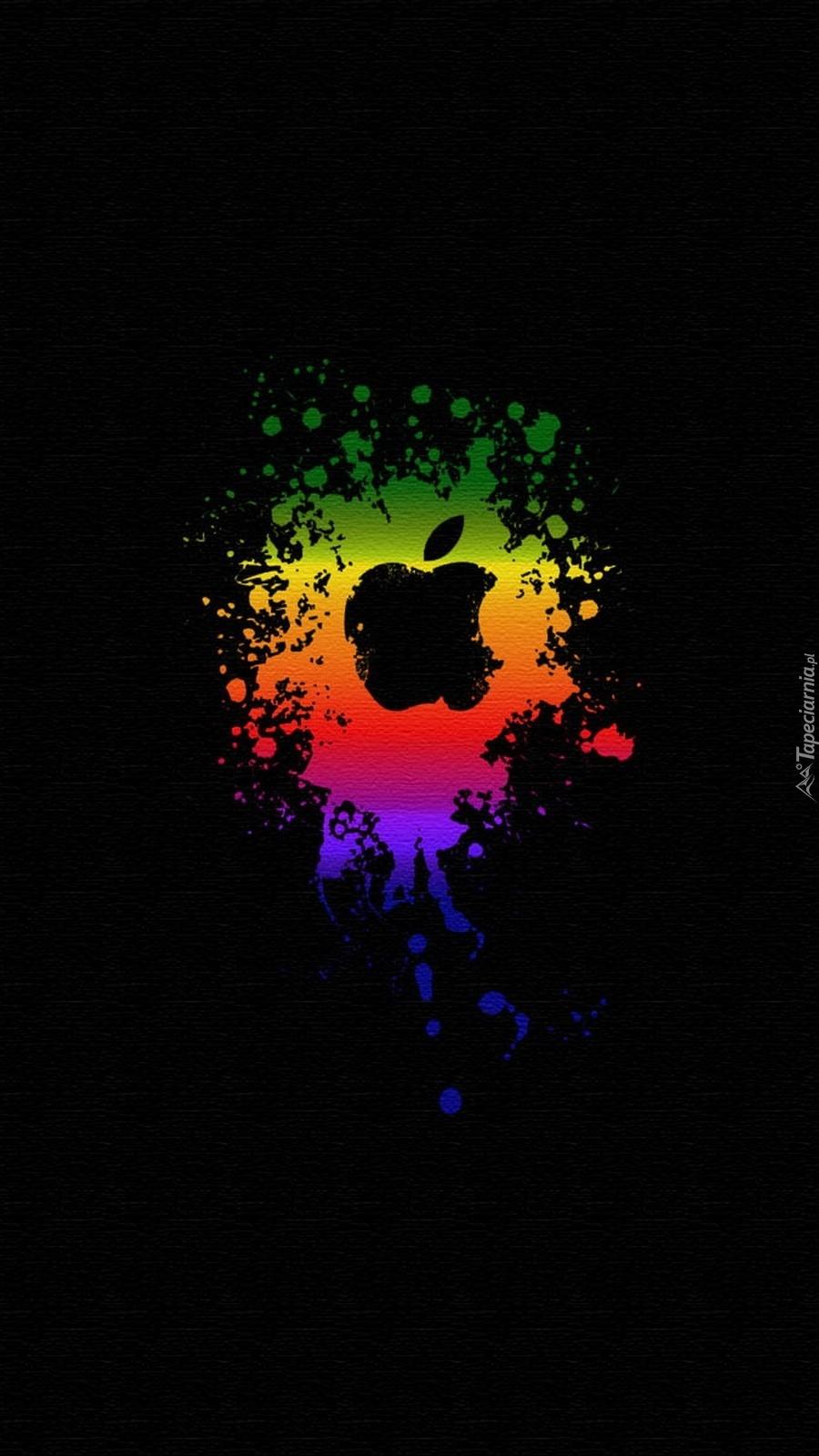 Logo Apple na czarnym tle