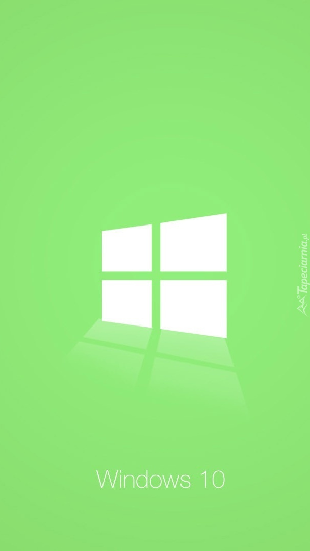 Logo Windows 10 na zielonym tle