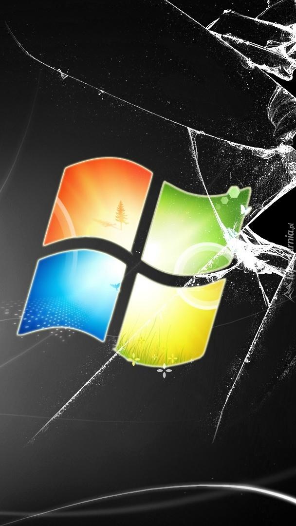 Logo Windows na pękniętym ekranie