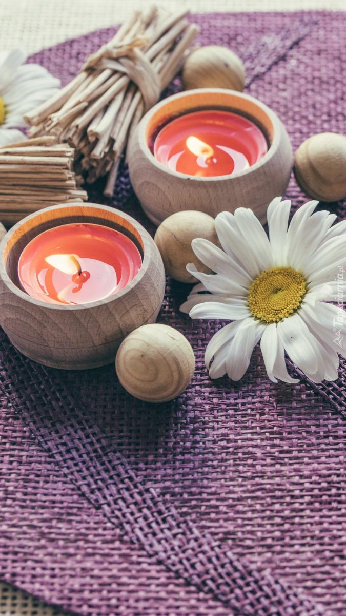 Margerytka obok dwóch świec