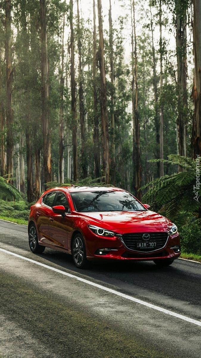 Mazda na leśnej drodze