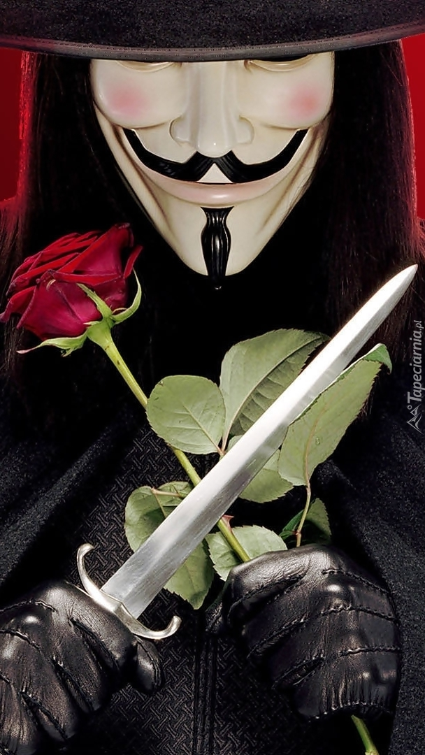 Mężczyzna w masce z różą i sztyletem