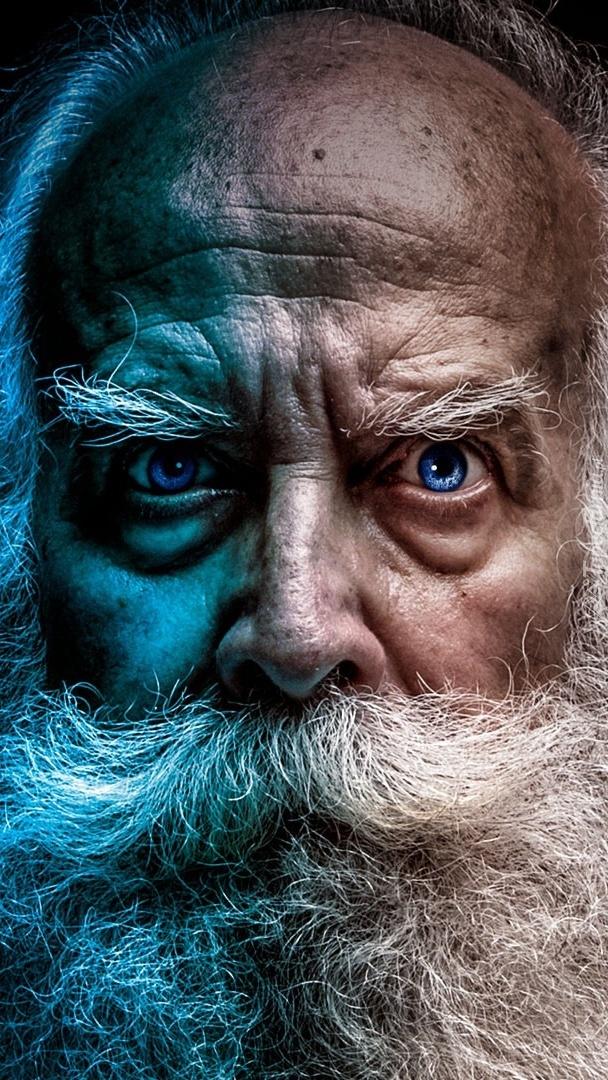 Mężczyzna z siwą brodą i wąsami
