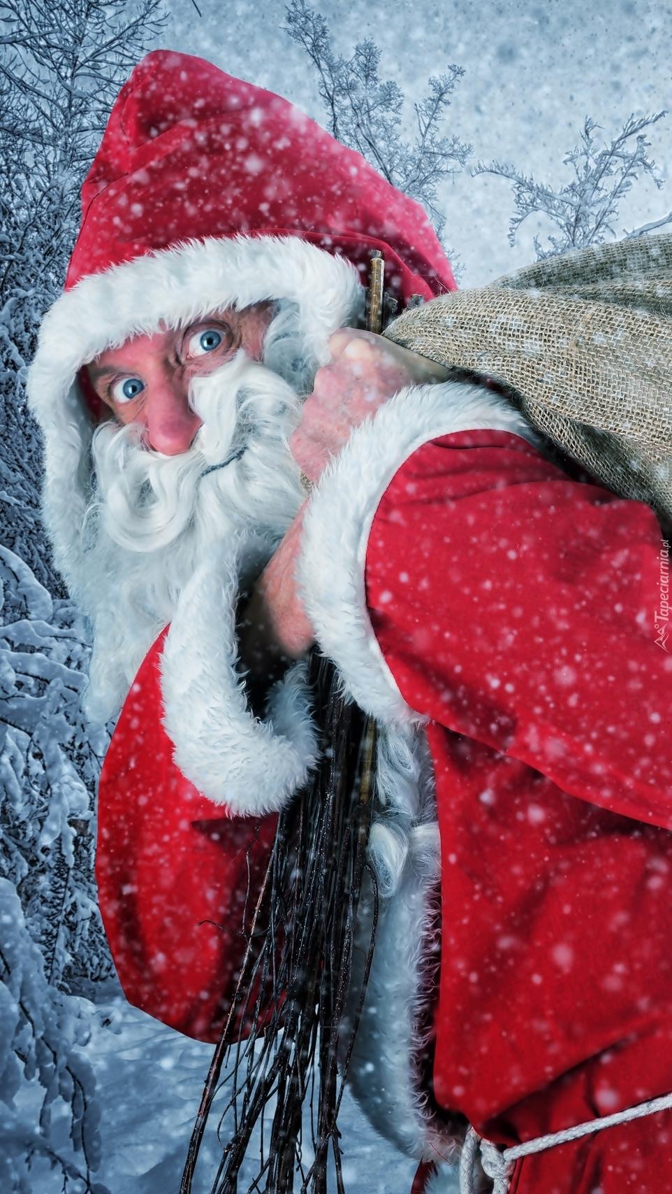 Mikołaj z rózgami i workiem
