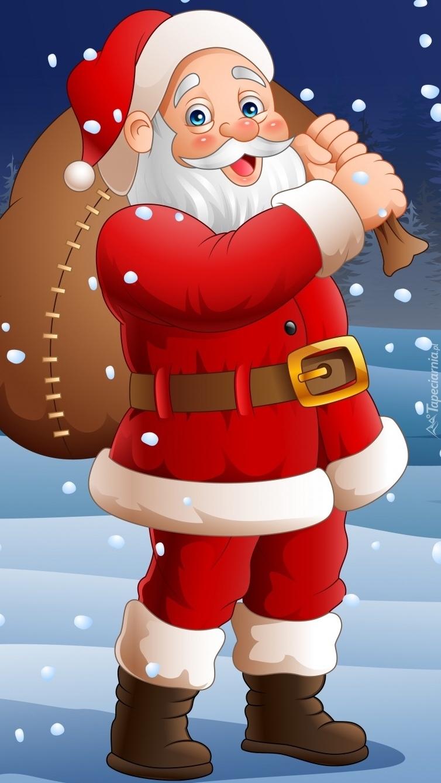 Mikołaj z workiem prezentów w grafice