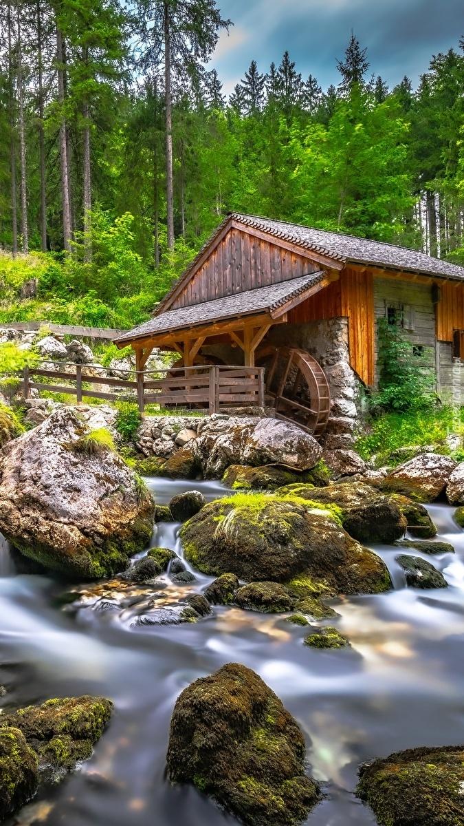 Młyn i omszałe kamienie w potoku