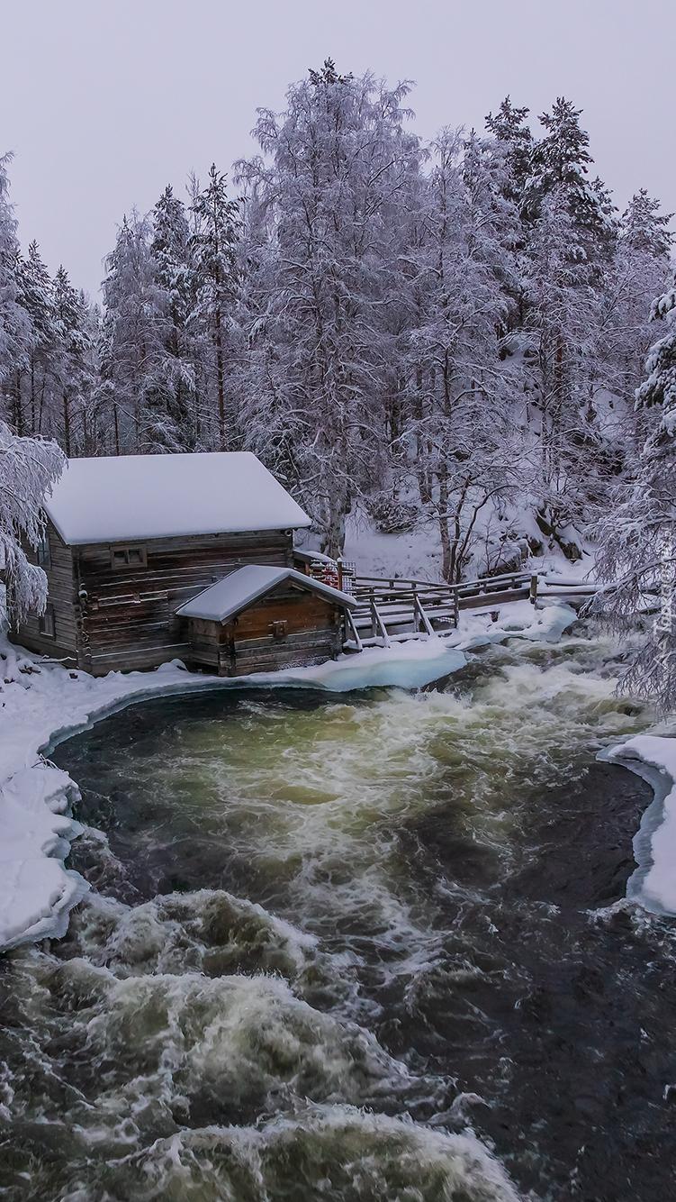 Młyn Myllykoski w zimowym lesie