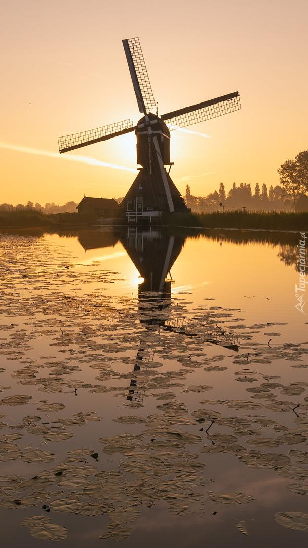Młyn Oudendijkse Molen nad rzeką Giessen