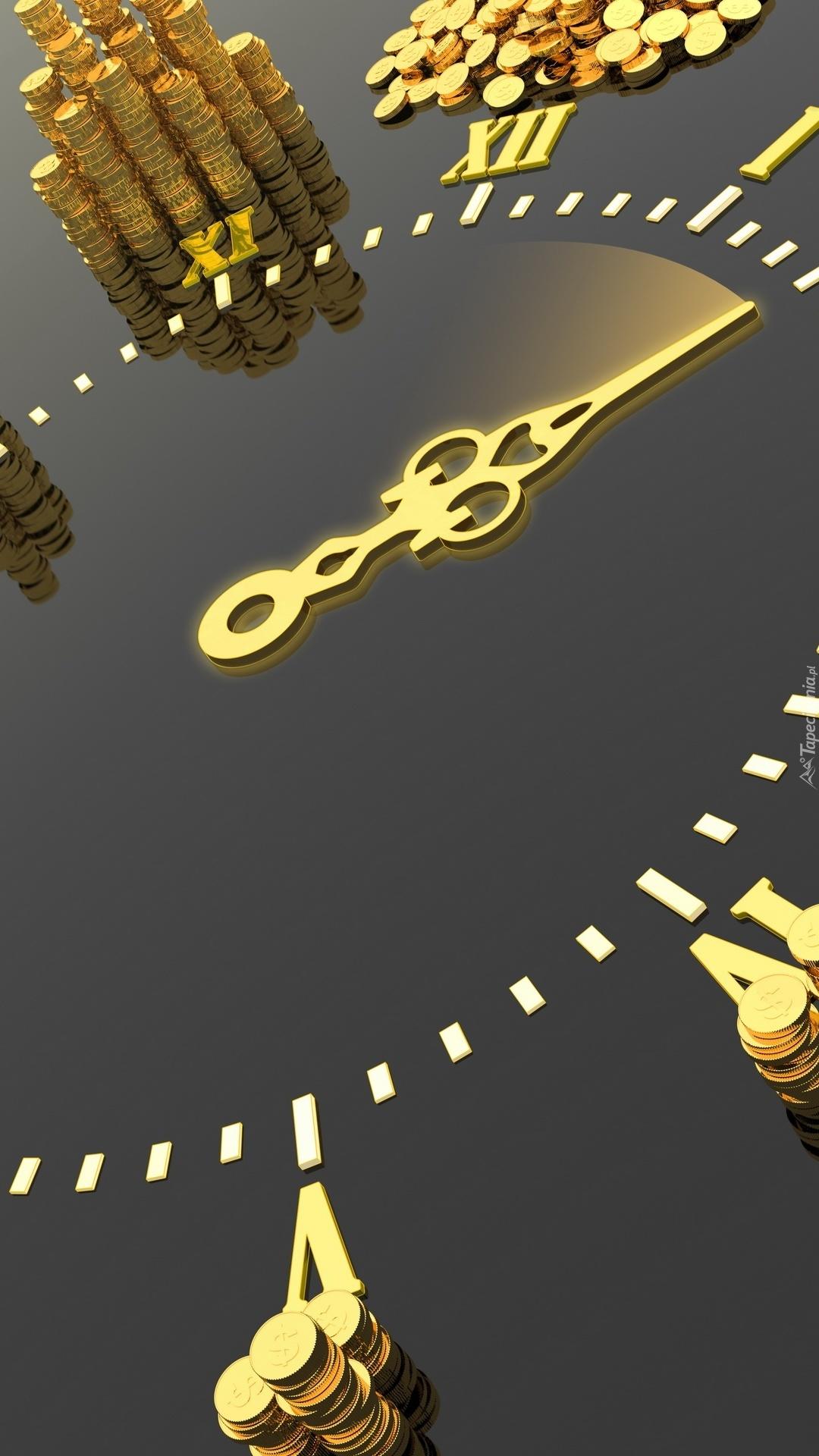 Monety przy graficznym zegarze