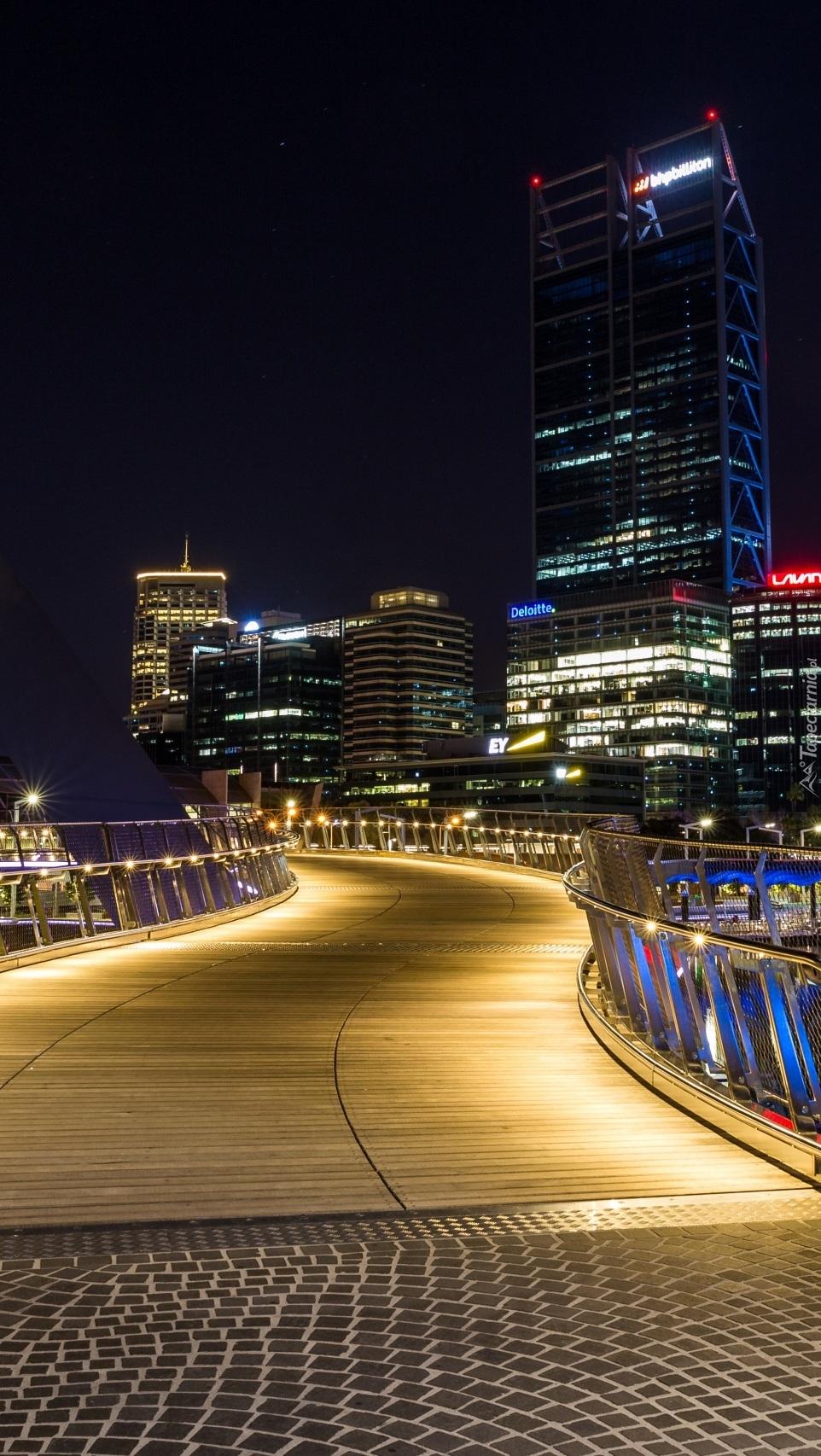 Most Elizabeth Quay Bridge nocą