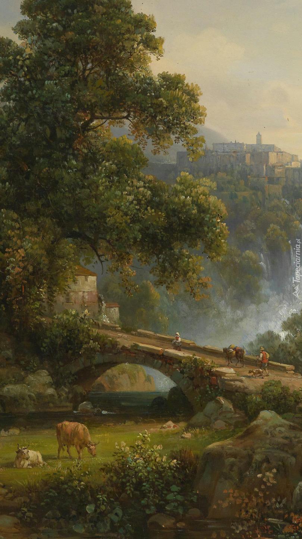 Most i drzewa na obrazie