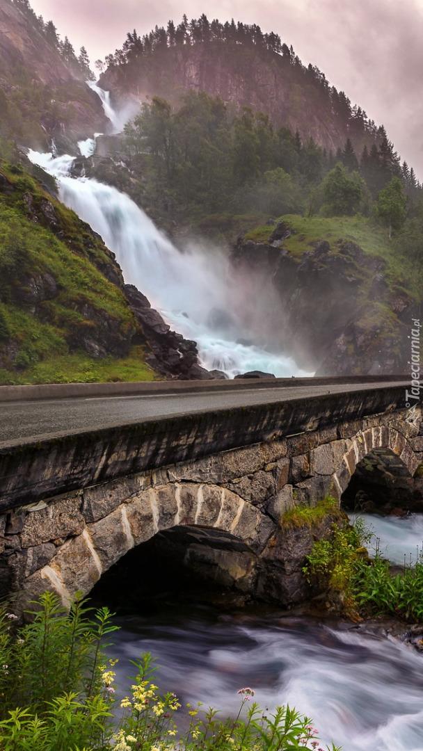Most na rzece przy wodospadzie Latefossen