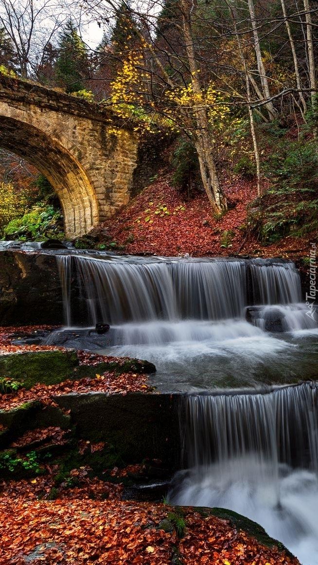 Most nad rzeką z wodospadem