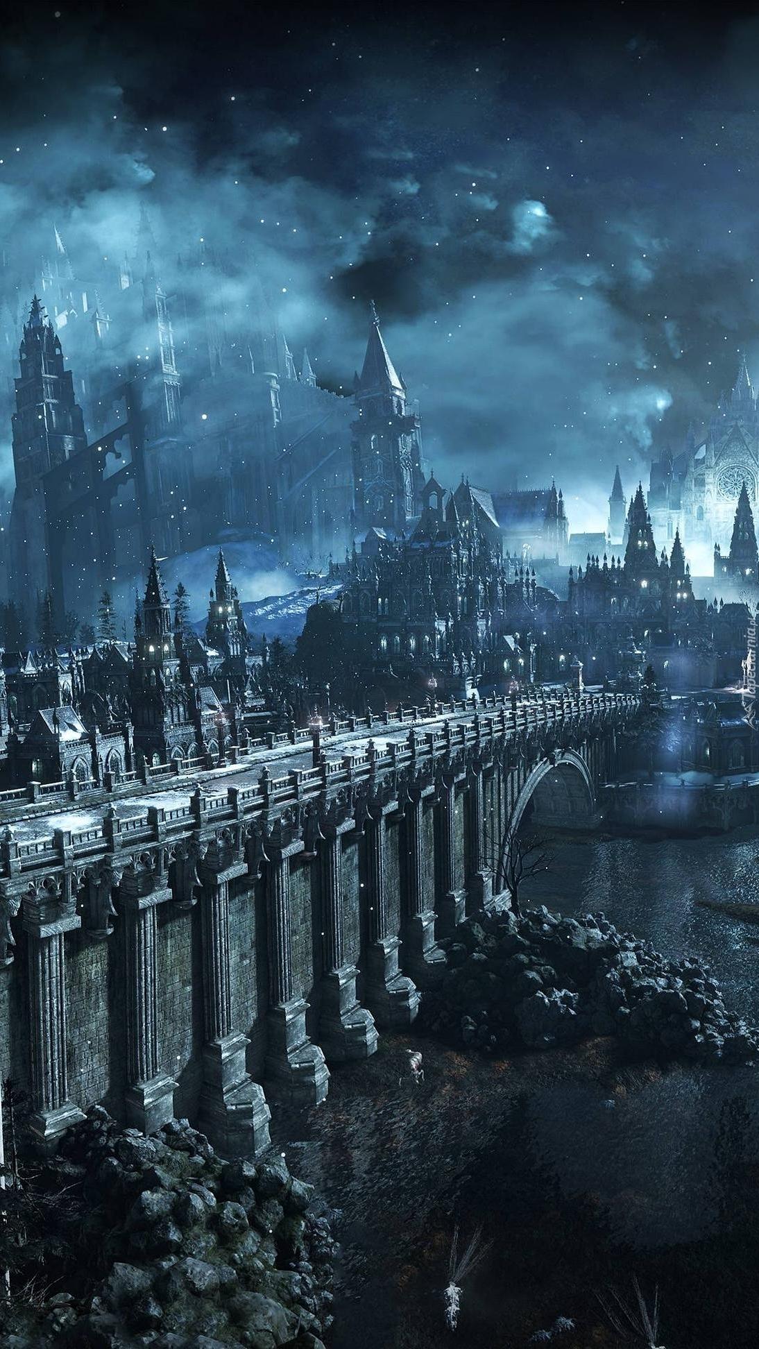 Most przy zamku w księżycową noc