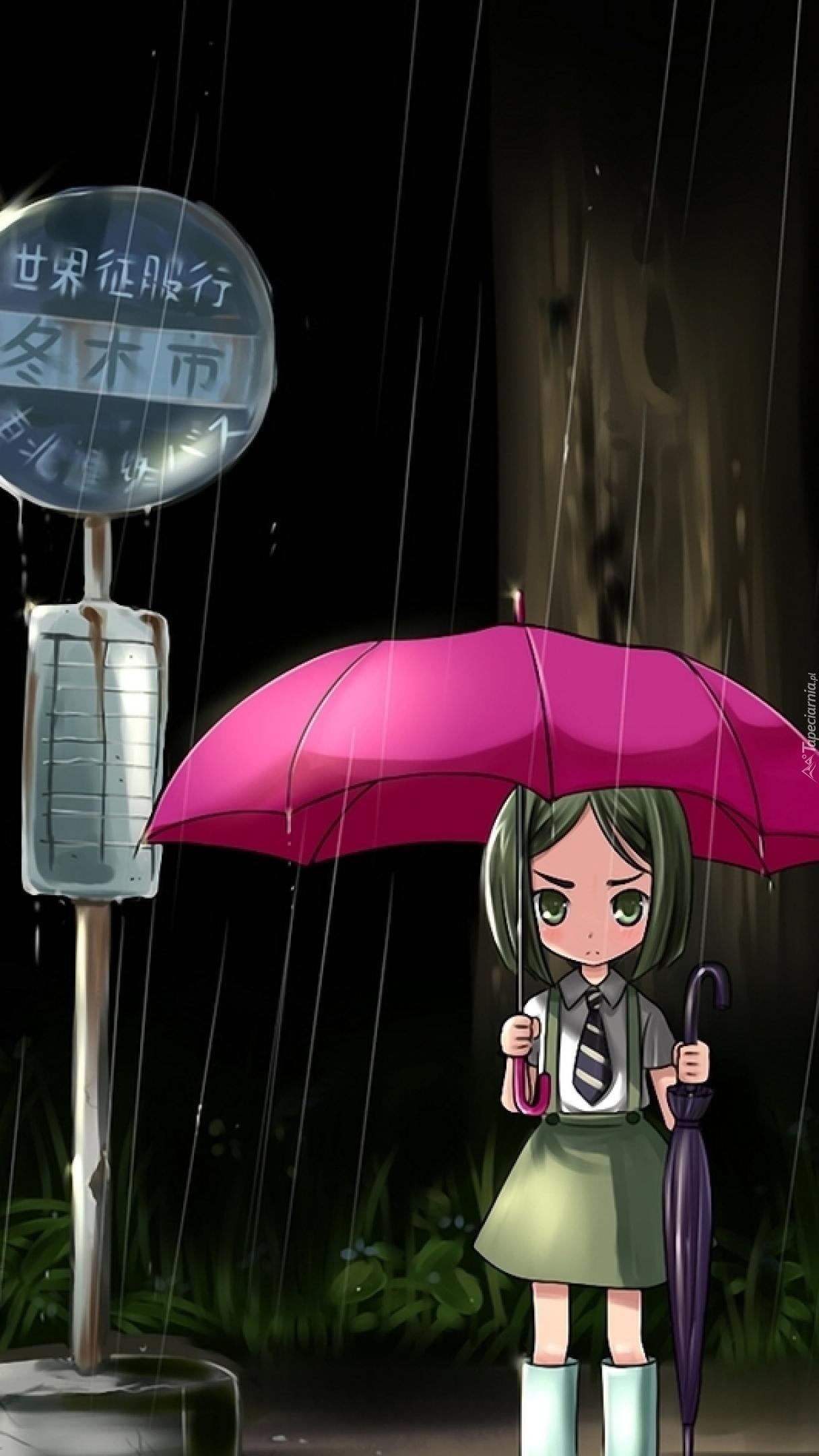 Na przystanku w deszczu