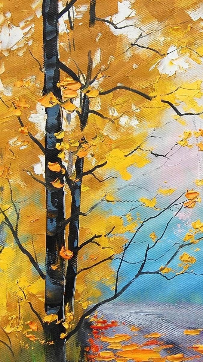 Namalowane kolorowe drzewo.