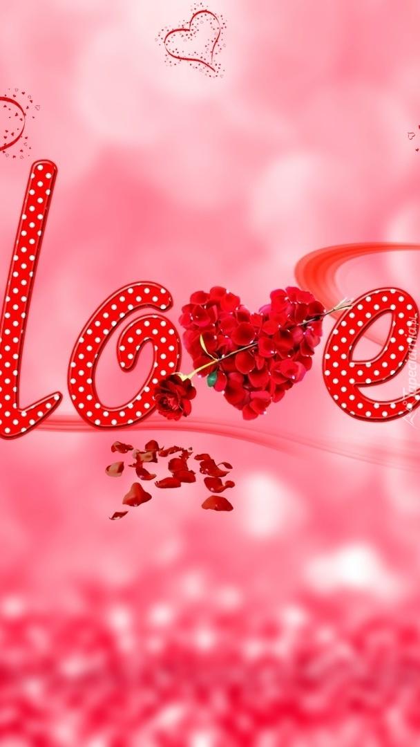 Napis love na różowym tle