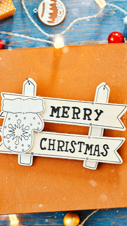 Napis Merry Christmas na kartce
