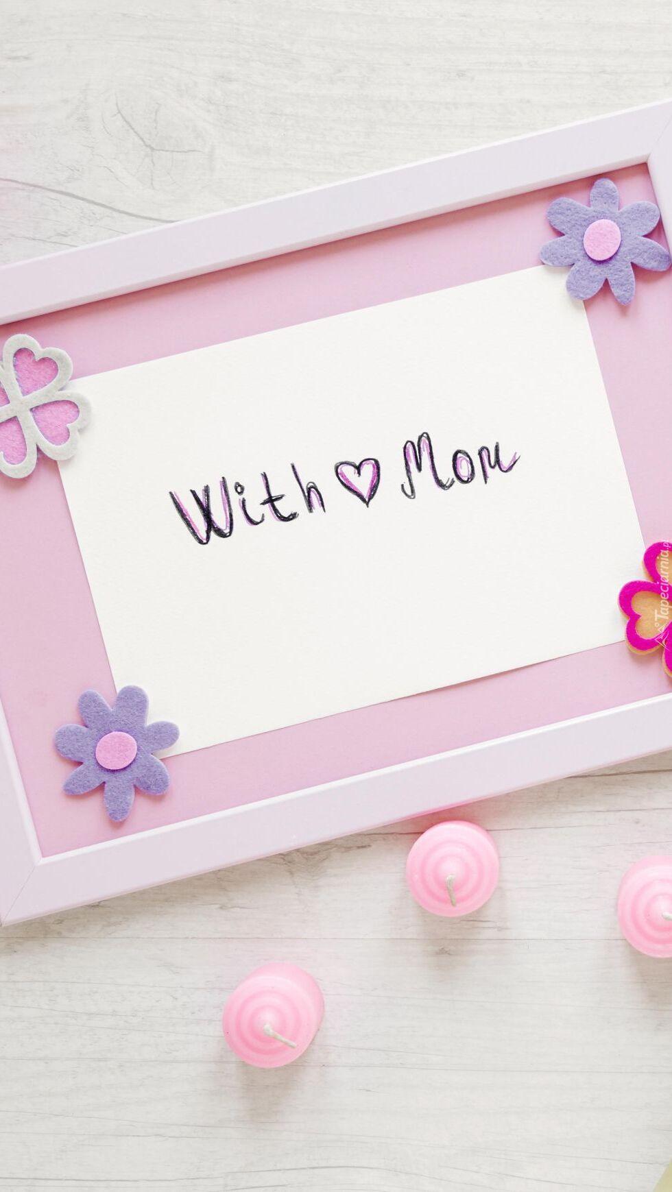 Napis With Mom w ramce