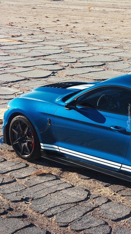 Niebieski Ford Mustang Shelby GT500