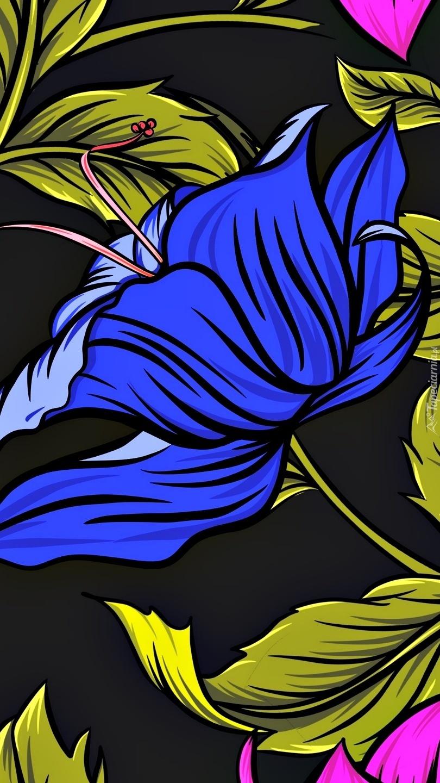 Niebieski kwiat w grafice